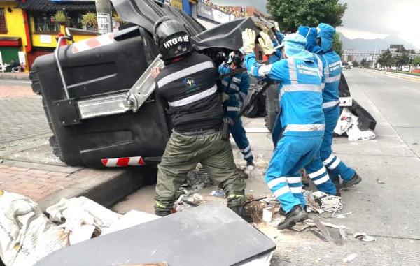 La UAESP supervisó operativos del servicio de aseo luego de las marchas